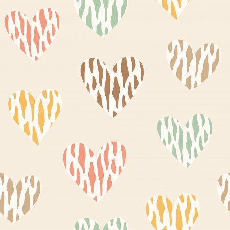 Seamless pattern with wild color hearts. Vector illustration Vector