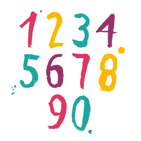 numbers abstract: Color hand drawn numbers set. Vector illustration Illustration