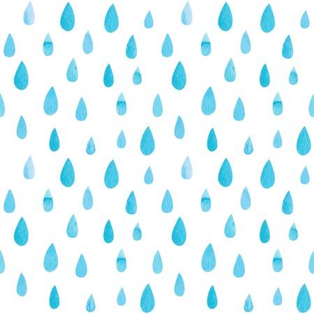 lluvia: Patrón sin fisuras con las gotas de acuarela. Ilustración vectorial