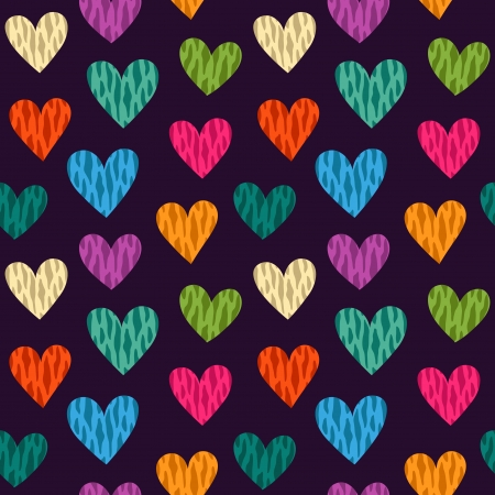 Seamless pattern with wild color hearts. Vector Vector