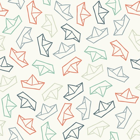paper boat: Seamless stylish pattern with color boats. Vector illustration Illustration