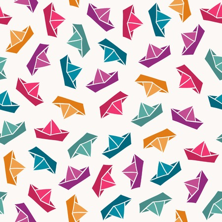 origami pattern: Seamless pattern with color paper boats. Vector illustration Illustration