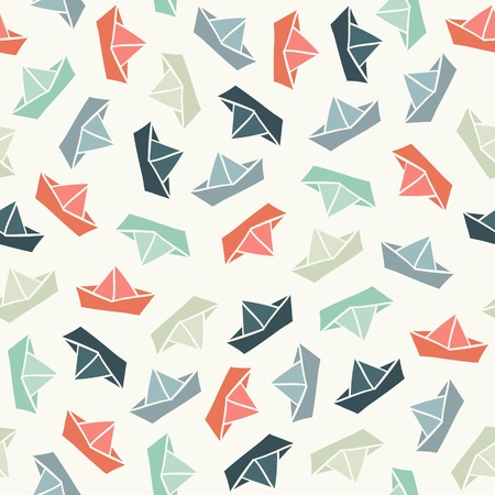 origami pattern: Seamless stylish pattern with color boats. Vector illustration Illustration