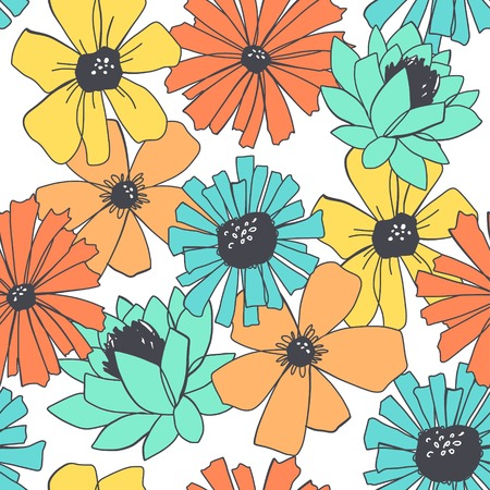 glade: Seamless elegant pattern with flowers  Vector illustration