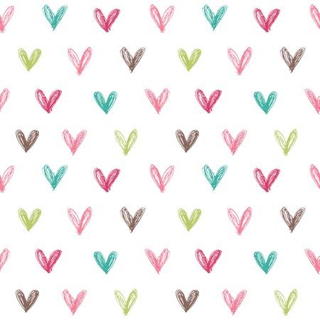 手でシームレスなパターンは、心を描かれています。ベクトル