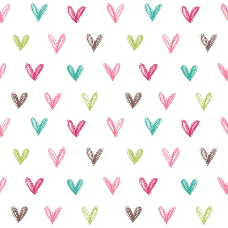 Seamless pattern with hand drawn hearts. Vector