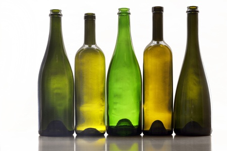 old items: Bright bottles of wine Stock Photo