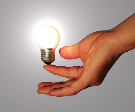 powered: lightbulb powered by human