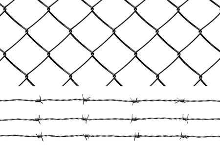 Barbed wire and wire fence isolated over white