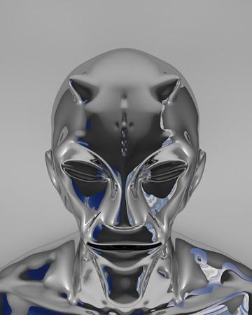 3d rendered shiny metal alien devil Stock Photo