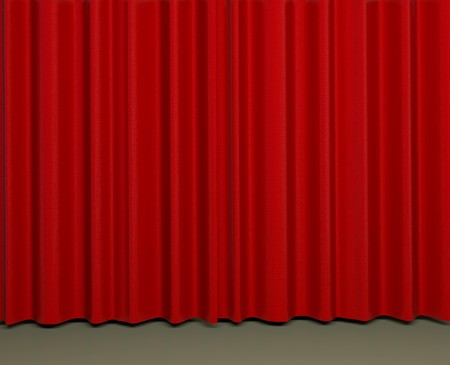 red velvet: 3d render of typical red theater curtains