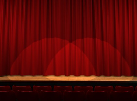 red satin curtains on theater stage photo