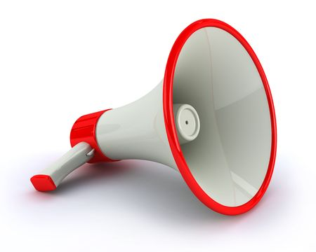 megaphone: Very high resolution megaphone on white background Stock Photo