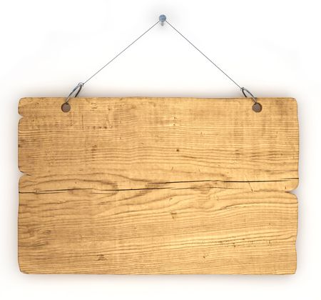 Empty notice board made of old wood hanging on a nail photo