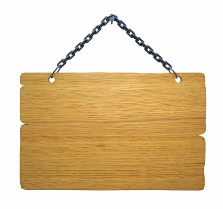 plywood: Empty notice board, made of wood hanging on a nail Stock Photo