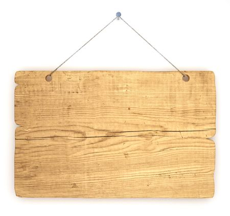 wooden panel: Empty notice board made of old wood hanging on a nail