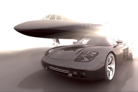 sportscar: Airplane and car in dramatic conceptual scene