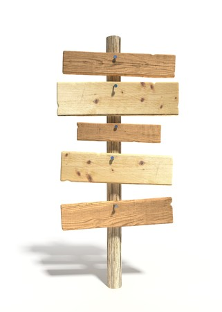 wooden signboard: 5 old wood signs on wooden pole, with llight shadow Stock Photo