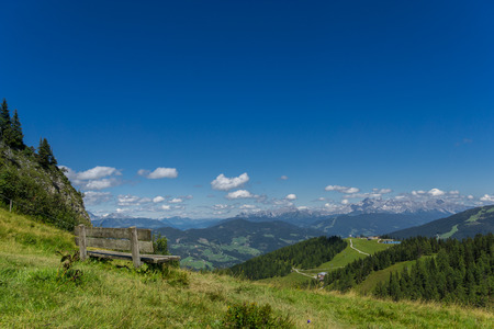 far sighted: Panorama with bank towards Dachstein