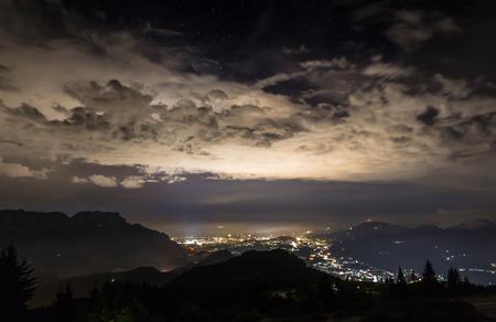 nightview: nightview over salzburg Stock Photo