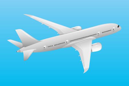 Vliegtuig in de blauwe hemel