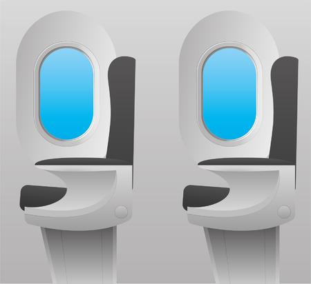 Binnen in het vliegtuig