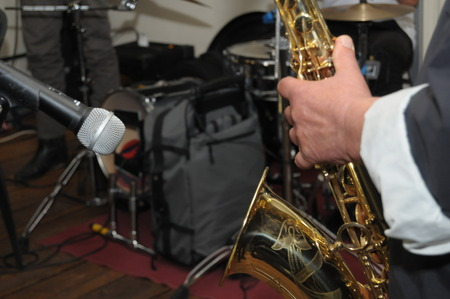 enables: man playing the saxophone Stock Photo