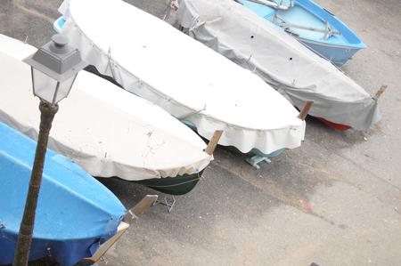 boats in the small port of Boccadasse in Genoa, Liguria 스톡 콘텐츠