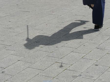 shadow of martial arts practitioner