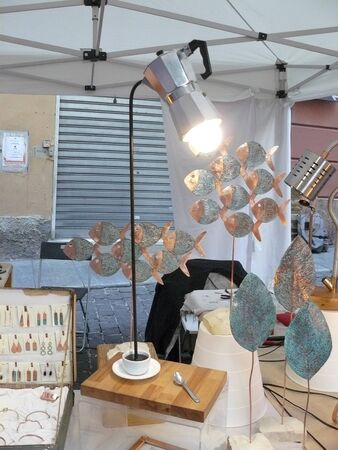 lamp made from a coffee maker Banco de Imagens