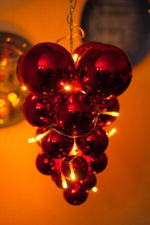 warm red Christmas decorations Banco de Imagens