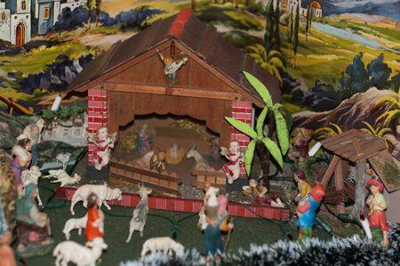 traditional homemade Christmas nativity scene