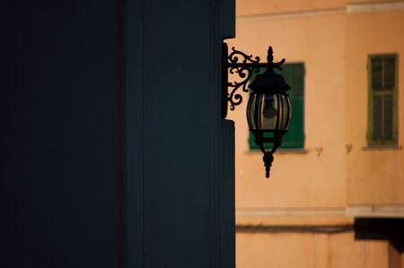 wrought iron lamppost along the road