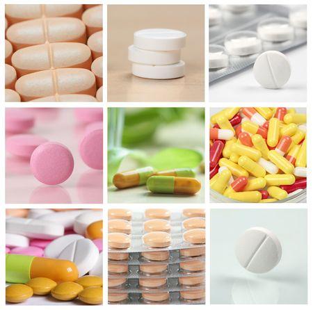 personas tomando agua: collage de pastillas