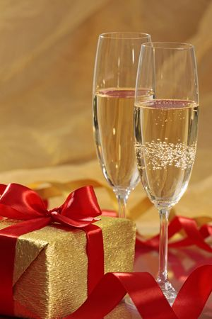 gift and champagne Stock Photo - 5679202