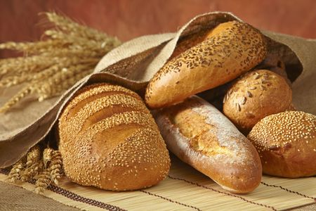 french bakery: group of bread