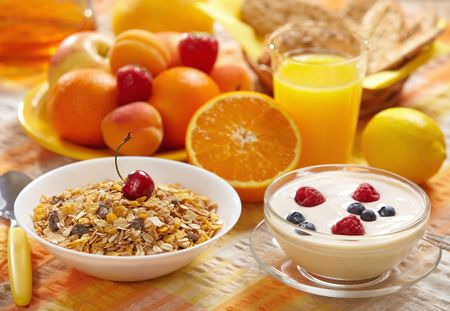 healthy grains: healthy breakfast Stock Photo