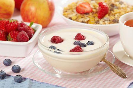 yogurt with fresh berries photo