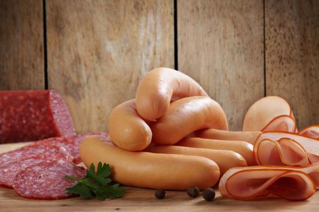 frankfurters: sausages and meat