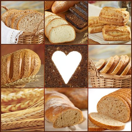 collage of bread images photo