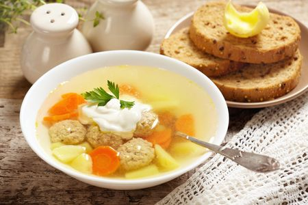 vegetable soup with meat balls photo