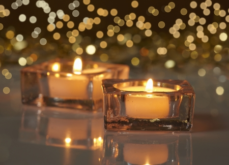 christmas candle: two burning candles Stock Photo