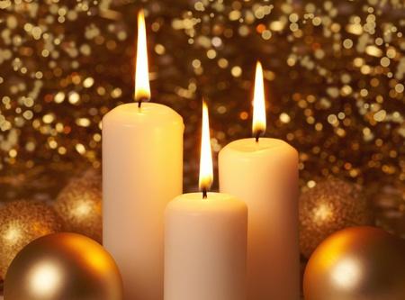 chandelles: No�l bougies allum�es Banque d'images
