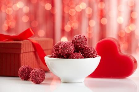 raspberry chocolate truffles photo