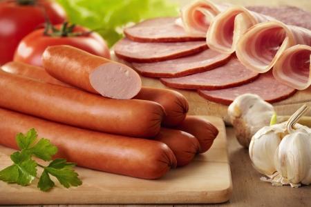 csemege: kolbász és hús Stock fotó