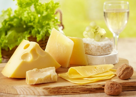 types of glasses: various types of cheese