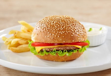 fresh hamburger on white plate photo