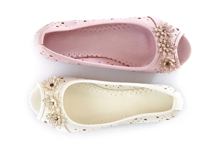 white and pink shoes photo