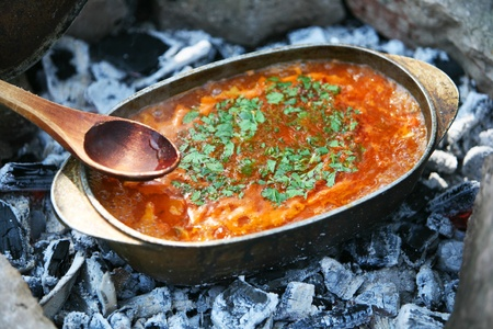 outdoor fireplace: fresh vegetable soup