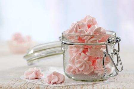 Meringue: pink meringue cookies
